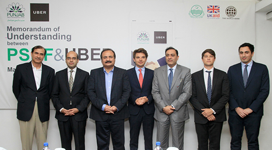 L-R: Mr. Faisal Fareed – Board Member, PSDF & Managing Director, Maxim International; Mr. Safee Shah – General Manager, Uber Pakistan; Mr. Rana Mashood Ahmad Khan – Minister for Education; Mr. Pierre Dimitri Gore-Coty - Head of Uber Operations Europe, Middle East and Africa; Mr. Jawad Khan – Chief Executive Officer, PSDF; Mr. Anthony Le Roux - General Manager Uber, Middle East & Africa; Mr. Ghassan Haddad - Head of Uber, Public Policy Middle East, Turkey and Pakistan.
